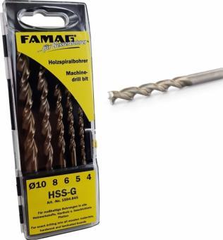 Holzspiralbohrersatz HSS-G, 5-teilig, Ø 4, 5, 6, 8, 10 mm